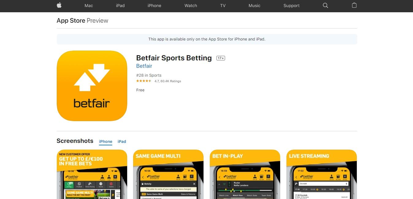 Betfair iOS application